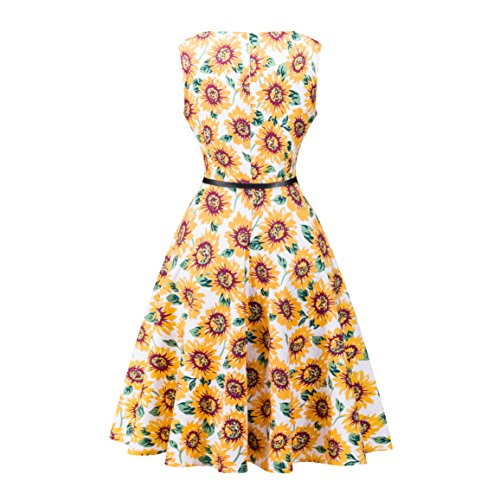 Floral Vintage Dress Party Line Yellow2 Dress Retro Womens A Elegant Printed BessWedding xAq14wF