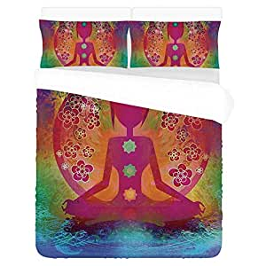 Amazon.com: Yoga Decor Soft 3 Piece Bedding Set,Padmasana ...