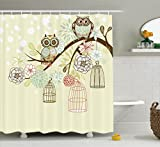 Owl Shower Curtain Ambesonne Owls Home Decor Collection, Owl Winter Floral Background Blossoms Owls Out of Their Cages Bird Cage Freedom Image, Polyester Fabric Bathroom Shower Curtain, 84 Inches Extra Long, Olive Blue