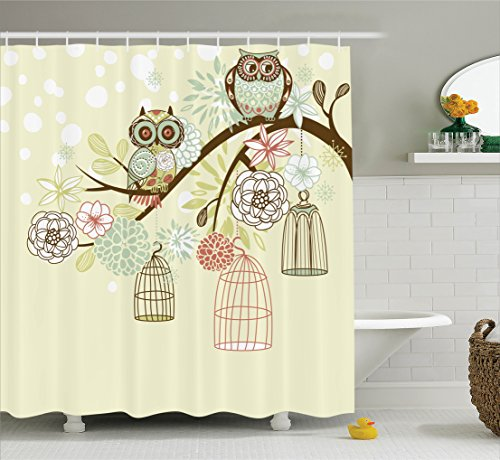 Ambesonne Owls Home Decor Collection, Owl Winter Floral Background Blossoms Owls Out of Their Cages Bird Cage Freedom Image, Polyester Fabric Bathroom Shower Curtain, 75 Inches Long, Olive Blue ()
