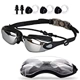 linwnil Swim Goggles,Swimming Goggles with Mirror Lens UV Protection for Men Women Adult Youth Kids Girls Anti Fog No Leaking with Earplugs,Nose Clips and Case