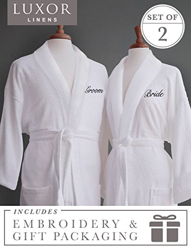 Luxor Linens Couple's Terry Cloth Bathrobe Egyptian Cotton Unisex/One Size Luxurious Soft Plush Elegant San Marco (Bride/Groom with Gift Packaging, Black Monogram)