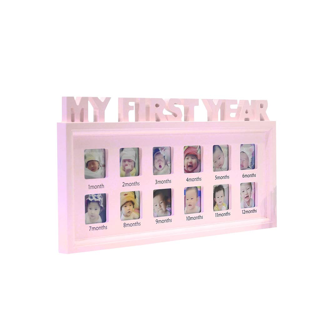 XTYaa Creative DIY 0-12 Month BabyMy First Year Pictures Display Plastic Photo Frame Souvenirs Commemorate Kids Growing Memory Gift