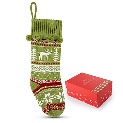 Codream Knit Christmas Stockings Festive Decor with Snowflakes Xmas Tree Reindeer Christmas Stocking 18