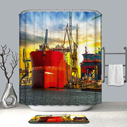 - BEICICI 3D Print Multi Style Shower Curtain and Bath mat View of Shipyard Polyester Fabric Shower Curtain and Floor Mat Combination Set