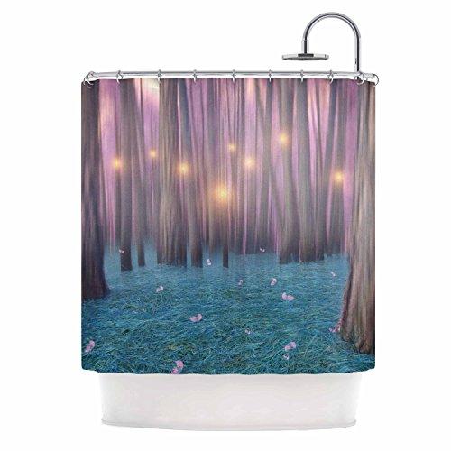 KESS InHouse Viviana Gonzalez Pink Feather Dance Digital Blue Shower Curtain, 69'' x 70'' by Kess InHouse