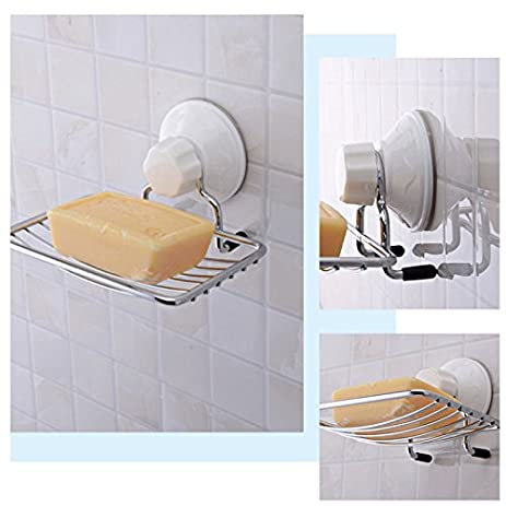 NPLE  Stainless Steel Soap Rack Holder Suction Tray Dish Shower Bathroom  Sink Toilet