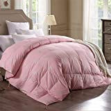 King Size Comforters on Sale Topsleepy Luxurious Goose Down Comforter,400TC 100% Cotton Shell Down Proof 560 Fill Power, Pink Color,Hypo-allergenic King (102x90inch)