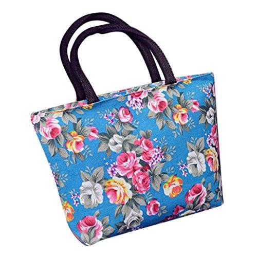 Rawdah Moda Mujer Niñas Impresión Canvas Bolsa De Compras Hombro Tote Shopper Bolsa Azul