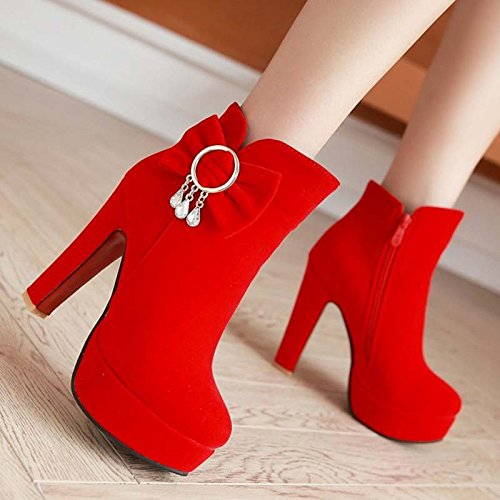 KHSKX-Fall High Heels Martin Boots Bow Tie Women Boots Boots Red (diamond pendant version) GyJy0L9