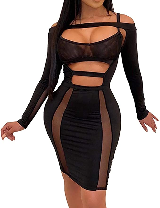 USA Women Elegant Long Sleeve Print Party Christmas Club Bodycon Slim Dress #S