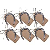 Amajoy 24pcs Copper Lucky Horseshoes Kraft Tag Rustic Wedding Favors Party Favor Vintage Wedding Decorations