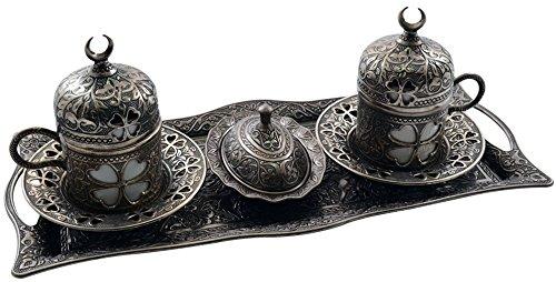 Bonus Turkish Greek Arabic Coffee Espresso Serving Set for 2,Cups Saucers Lids Tray Delight Sugar Dish 11pc (Antique Greyish-white)