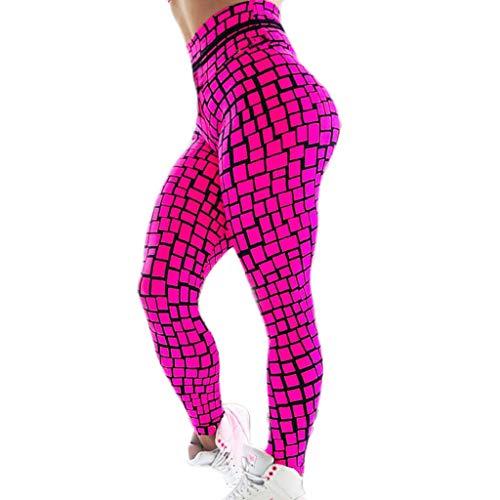 VICCKI Ladies'printed High-Waist Hip Stretch Underpants Running Fitness Yoga Pants Hot Pink