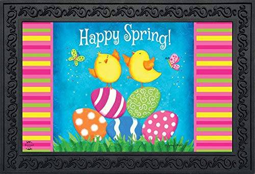 """Briarwood Lane Happy Spring Chicks Doormat Easter Eggs Indoor Outdoor 18"""" x 30"""" from Briarwood Lane"""