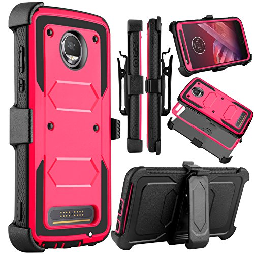 Moto Z2 Force Case, Moto Z2 Play Case, Venoro Heavy Duty Shockproof Full Body Protection Rugged Hybrid Case Cover with Swivel Belt Clip and Kickstand for Motorola Z Force 2017 (Pink)