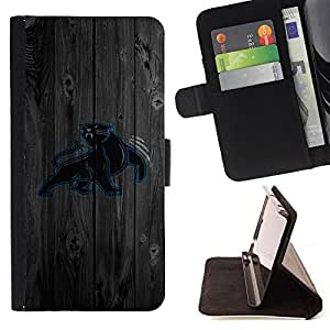 For Motorola Moto E 2nd Generation Carolina Panther Football Style PU Leather Case Wallet Flip Stand Flap Closure Cover