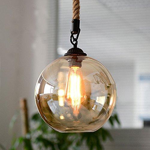 iYoee Retro Industrial Kitchen Hemp Rope Pendant Lights Antique Glass Hanging Suspension lamp Living Room Chandelier Lighting