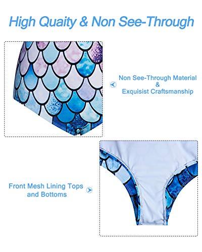 Kids4ever Mermaid Fish Scale Mother Daughter Matching Bikini Set Flounce High Waisted Mommy and Me Bikini Set