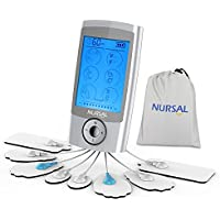 Nursal Tens Unit Muscle Stimulator with 8 Electrode Pads, Rechargeable 16 Modes Electronic Pulse Massager