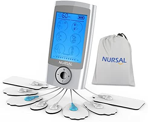 NURSAL Rechargeable Tens Unit with 16 Modes and 8 Pads Pulse Impulse Pain Relief Massager