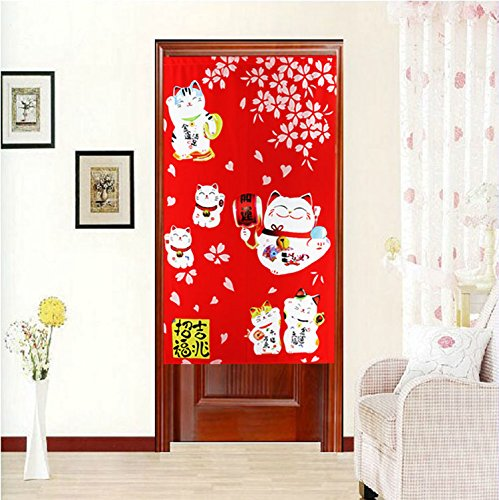 Red Japanese Noren Doorway Curtain with Lucky and Fortune Cats Pattern Auspicous Maneki Neko Bedroom Curtain by LifEast