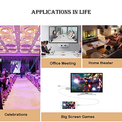 YEHUA Compatible from iPhone/iPad to HDMI/Monitor/ Projector 1080P Digital AV Cable Portable Mirroring Screen to HDMI Adapter by Yehua (Image #4)