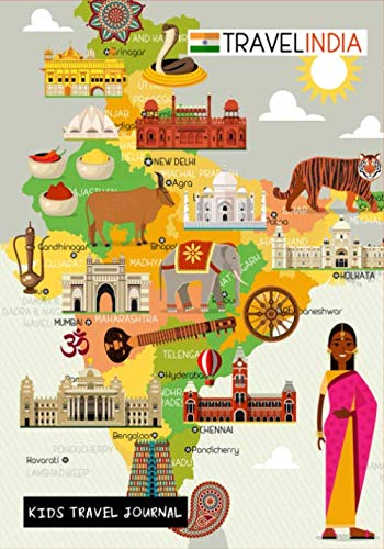 India Kids Travel Journal: Fun Adventures, Diary for Kids to Write In with Prompts ~ Pages for Writing, Doodling & Sketching, Small Lined Diary