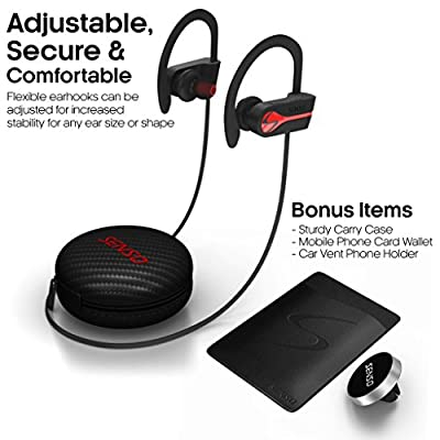SENSO Bluetooth Wireless Headphones, Best Sports Earphones w/ Mic IPX7 Waterproof HD Stereo Sweatproof Earbuds for Gym Running Workout 8 Hour Battery Noise Cancelling Headsets Hifi Cordless Headphones