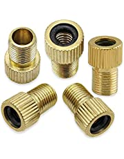 Brass Presta Valve Adaptor (Pack of 5) - Convert Presta to Schrader for Bikes, e-Bikes, e-Scooters and Cars - Inflate Tire Using Standard Pump or Air Compressor