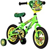 Fun,Sleek 12'' Teenage Mutant Ninja Turtles Boys' Bike,Unique TMNT Design Featuring Nameplate,Convenient Chain Guard,Detachable Training Wheels,Tool-Free Adjustable Seat,Coaster Brakes,Green