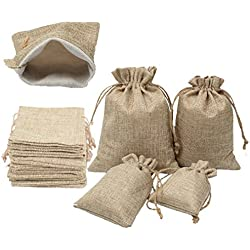 "YUKUNTANG Burlap Bags, 20 Pcs Wedding Party Jewelry Favor Gift Candy Drawstring Pouch Burlap Sacks for Arts, Crafts, Presents, Snacks, Christmas, Thanksgiving (5""X7"")"