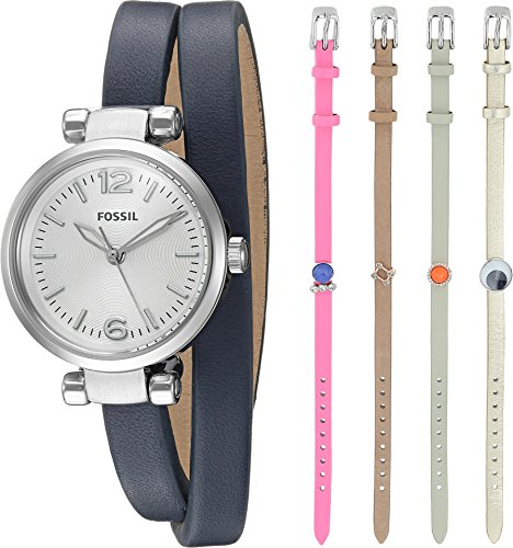 Fossil Women's ES4095SET Georgia Three-Hand Leather Watch and Charm Box Set