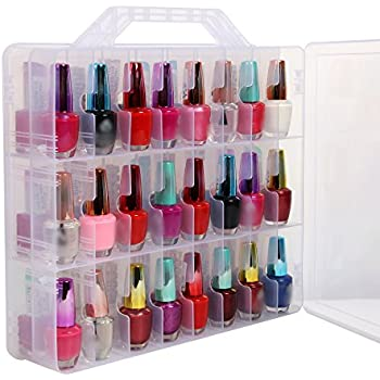 Amazon makartt universal clear nail polish organizer holder for portable clear double side nail polish organizer holder up to 48 bottle adjustable spaces divider solutioingenieria Images