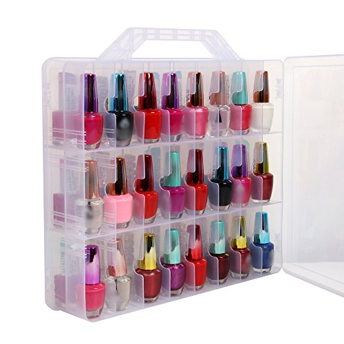 Portable Clear Double Side Nail Polish Organizer Holder Up to 48 Bottle Adjustable Spaces Divider by Subay