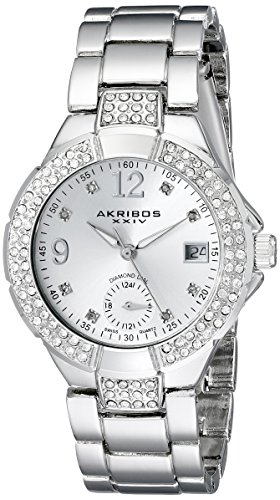 Akribos XXIV Women's AK775SS Silver-Tone Swiss Quartz Watch