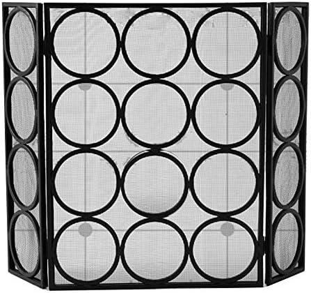 暖炉スクリーン 3パネル火災ガードModern無料立ち暖炉スクリーン、暖炉、ストーブ、グリル黒の折り畳み式ストーブ画面
