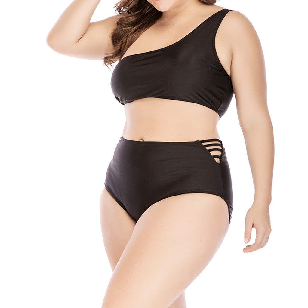 NRUTUP Women Plus Size High Waist Swimwear Solid Hollow Swimsuit Push Up Padded Bikini Beachwear