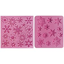 Snowflakes Lace Silicone Mold 2 in set, sugarcraft Candy, cupcake topper, cake decorate, Icing Chocolate, Fondant, Butter, Resin, Cabochon, Polymer Clay, fimo, gum paste, PMC, Wax, Soap Mould