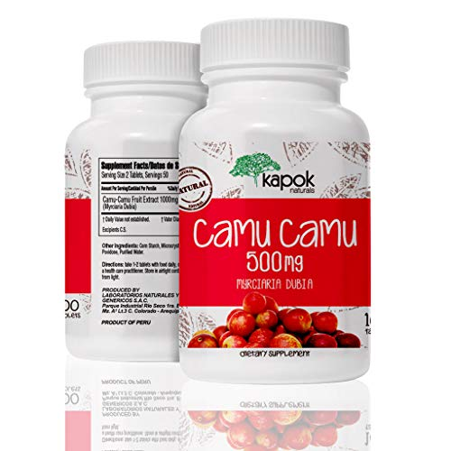 Kapok Naturals Camu Camu, 100x 500mg Wholefood Vitamin C Tablets. Use Camu Camu Powder to Boost Immunity, Liver Cleanse & Reduce Inflammation. Available as Camu Camu Capsules or Camu Camu Pills. - Camu Powder