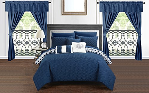 Chic Home Sigal 20 Piece Comforter Set Reversible Geometric Quilted Design Complete Bed in a Bag Bedding - Sheets Decorative Pillows Shams Window Treatments Curtains Included Queen Navy A Bed Geometric Curtain