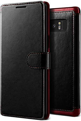 Galaxy Note 8 Case, Premium PU Leather ID Card Slot Holder Wallet Drop Protection Cover [Wireless Charging Compatible] Samsung Note 8 (2017) Lumion (Layered Dandy - Black)