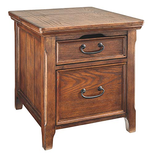 Ashley Furniture Signature Design - Woodboro Media End Table - 2 Drawers and Top Drop Door with Power and Internet Ports - Dark Brown (Style Rug Mission)