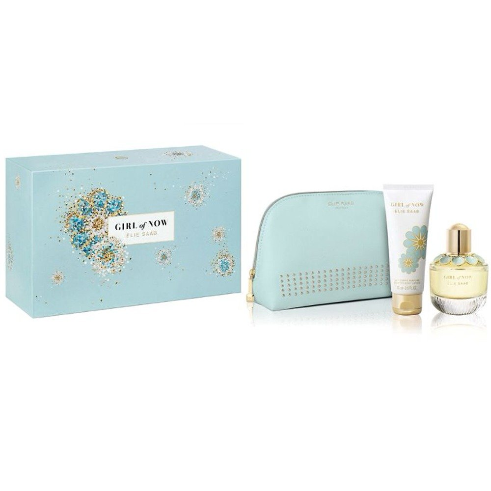 Elie Saab Girl of Now 2018 Set 50ml Eau De Parfum EDP, 75ml Body Lotion, Beauty Pouch