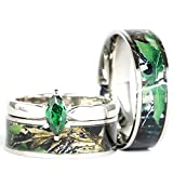 KingswayJewelry His & Hers Camo Green Marquis Stainless Steel & Sterling Silver Wedding Ring Set (Size His 12; Hers 5)