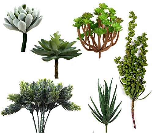 Pack of 6 Fake Succulent Plants for Office and Home Décor - Faux Plants for Decoration Faux Succulent Bouquet Plants Wall Hanging Fake Succulent Plants Pick Textured Faux Succulent Plants