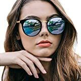 Round Sunglasses for Women Polarized, Retro Oversized Frame with UV400 Protection, Anti Glare, Anti Reflective (Matte Black - Blue Mirror)