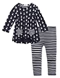Arshiner Little Girls Long Sleeve Cute Rabbit Print with Pockets Cotton Outfit 12 pcs Pants Sets Top+Legging,Navy Blue,130(8-9years old)
