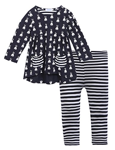 Arshiner Little Girls Long Sleeve Cute Rabbit Print with Pockets Cotton Outfit 2 pcs Pants Sets (Cute Outfits For Little Girl)