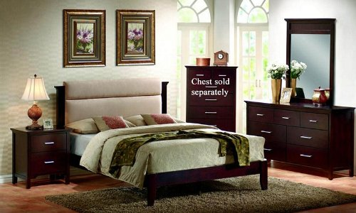 4pc King Size Platform Bedroom Set in Mahogany Finish ()